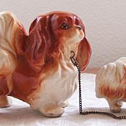 Vintage Ceramic Pekingese Mother & Baby Dog Figurines ~ Wales Made in Japan