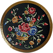 Vintage Stratton Petite Point Bouquet of Flowers Compact