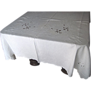 SOLD Madeira White Tablecloth- 116 inches long by 60 inches wide