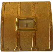 Vintage Evans Goldtone Powder Compact with Watch Lid Inset