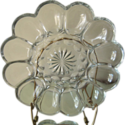 Vintage Glass Deviled Egg Platter