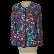 Vintage Silk Sequin  and BeadedJacket