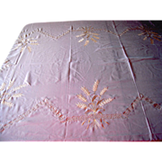 SOLD White Tablecloth with Greek Key Symbol and Wheat