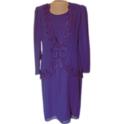 Dark Purple After Dark Dress with Lace Embroidery
