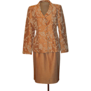 Vintage Peach Tan Suit with White Beading