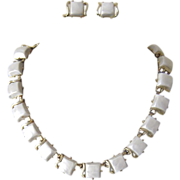 Vintage  White  Coro and Goldtone   Necklace and Earrings