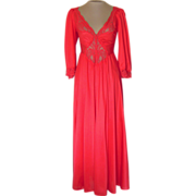 SALE Vintage Red Olga Nightgown with Sleeves- no. 92350