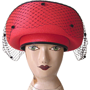 SALE Vintage Red and Black Doris Designed Hat