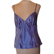 Vintage Blue Silk Camisole with Lace