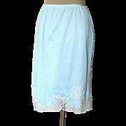 Vintage Light Blue Half Slip with Gorgeous LAce