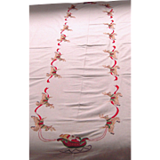 SOLD Long White Christmas Tablecloth with Embroidered Santa in Sleigh and Reindeer Tablecloth