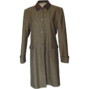 SALE PENDING Bill Blass Brown  Tweed Coat with Velvet Collar