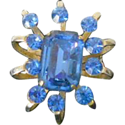 Vintage Coro Pin with Blue Rhinestones