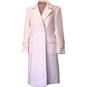 Vintage Winter White Evan Piccone 100 % Wool Long Dress Coat