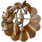Vintage Coro Round Gold-Tone Pin with Four Small Colored Stones and Faux Pearls