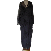 Vintage Valerie Stevens Black Nightgown  and Matching Dressing Robe with Beading