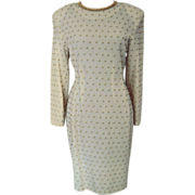 Carmen Marc Valvo  Wool Beaded Dress made in Hong Kong