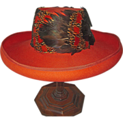 SOLD Vintage Mr. John Burnt Orange Felt Hat with Feathers