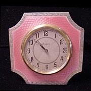 English Pink Guilloche Enamel Sterling Clock