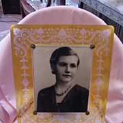 Large Rare Yellow Cut to Clear Glass Picture Frame