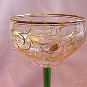 Tall Cut & Gilded Bohemian Crystal Wine Stem