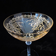 "Fostoria ""June"" Pattern Topaz Tall Sherbet or Champagne"