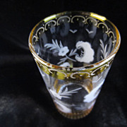 SOLD Yellow & Clear Glass Tumbler from Bohemia