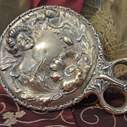Art Nouveau Brass Hand Mirror