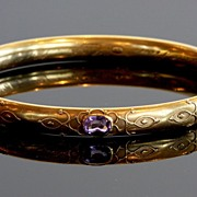 SALE Edwardian 18K Gold Bangle with Amethysts