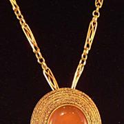 SALE Victorian 18K Etruscan Cabochon Agate Pin/Pendant