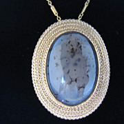 SALE Picture Agate and 18k Yellow Gold Pin/Pendant