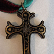SALE Victorian Pique Inlaid Shell Cross
