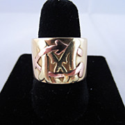 SALE Monogrammed Wide Band in 18k Yellow Gold