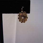 Antique 10K Rose Gold & Diamond Shell Earrings
