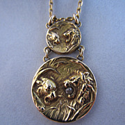 SALE 18k and Diamond Lion and Lioness Necklace