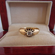 SALE Victorian Diamond and 14k Rose Gold Ring