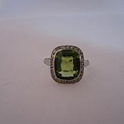 Antique Peridot and Diamond Ring