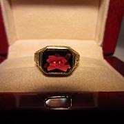SALE Garnet and Engraved 14k Ring