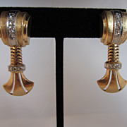Rose Gold and Diamond Retro Screw Back Earrings