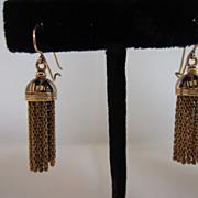 Victorian 14k Yellow Gold and Enamel Tassel Earrings