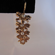 Seed Pearl and 14k Gold Articulated Dangle Earrings
