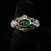 SALE Edwardian Emerald, Diamond and Platinum Ring