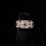 Unique Art Deco Diamond and Natural Sapphire Ring