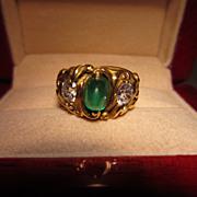 Art Nouveau Diamond and Emerald Ring