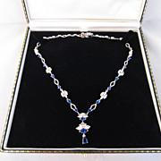 Diamond Paste, Sapphire Paste & Sterling Necklace