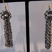 Antique Cut Steel Tassel Drop Earrings