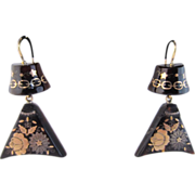 Antique Floral Pique Shell Drop Earrings
