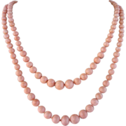 SALE Natural Coral Double Strand Necklace