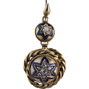 Victorian 15k Yellow Gold Diamond and Enamel Earrings