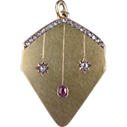 18k Yellow Gold, Diamond, and Ruby Locket